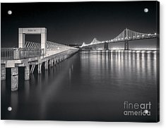 San Francisco Bay Bridge And Pier 14 Acrylic Print by Colin and Linda McKie