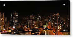San Francisco By Night Acrylic Print by Cedric Darrigrand