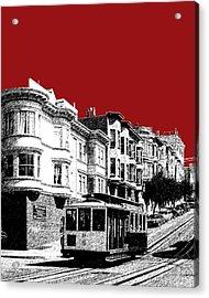 San Francisco Cable Car 2 - Dk Red Acrylic Print