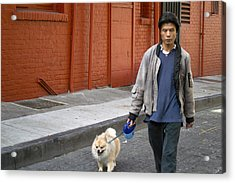 San Francisco Chinatown Dog Walker Acrylic Print by Christopher Winkler