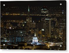 San Francisco Cityscape With City Hall At Night Acrylic Print by David Gn