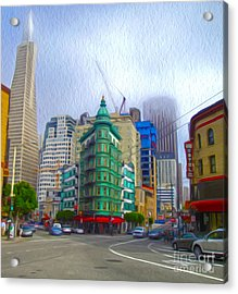 San Francisco - Columbus Street Acrylic Print by Gregory Dyer