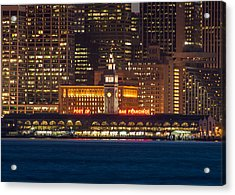 San Francisco Ferry Building At Night.  Acrylic Print