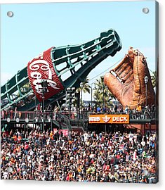 San Francisco Giants Baseball Ballpark Fan Lot Giant Glove And Bottle 5d28241 Square Acrylic Print by Wingsdomain Art and Photography