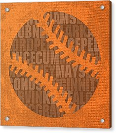 San Francisco Giants Baseball Typography Famous Player Names On Canvas Acrylic Print