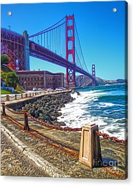 San Francisco - Golden Gate Bridge - 12 Acrylic Print by Gregory Dyer