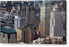San Francisco Museum Of Modern Art And Skyscrapers Acrylic Print by Adrian Mendoza