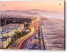 San Francisco Ocean Beach Drive Acrylic Print