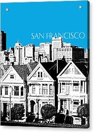 San Francisco Skyline Alamo Square - Ice Blue Acrylic Print by DB Artist