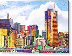 San Francisco Skyline Along The Embarcadero 5d29399 Photoart Acrylic Print by Wingsdomain Art and Photography