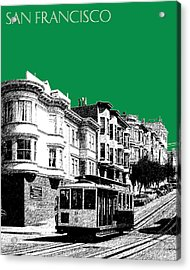 San Francisco Skyline Cable Car 2 - Forest Green Acrylic Print by DB Artist