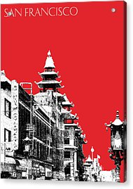 San Francisco Skyline Chinatown - Red Acrylic Print by DB Artist