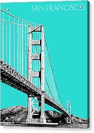 San Francisco Skyline Golden Gate Bridge 2 - Aqua Acrylic Print by DB Artist