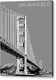 San Francisco Skyline Golden Gate Bridge 2 - Pewter Acrylic Print