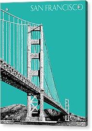 San Francisco Skyline Golden Gate Bridge 2 - Teal Acrylic Print by DB Artist