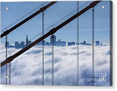 San Francisco Skyline In Fog Acrylic Print by Jerry Fornarotto