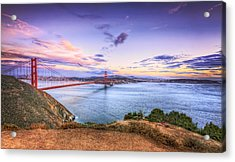 San Francisco Sunset And The Golden Gate Bridge From Marin Headlands 2 Acrylic Print