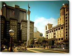 San Francisco Union Square 5d17933brun Acrylic Print by Wingsdomain Art and Photography