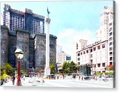 San Francisco Union Square 5d17933wcstyle Acrylic Print by Wingsdomain Art and Photography