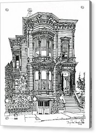 Acrylic Print featuring the drawing San Francisco Victorian   by Ira Shander