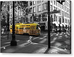 San Francisco Vintage Streetcar On Market Street - 5d19798 - Black And White And Yellow Acrylic Print by Wingsdomain Art and Photography