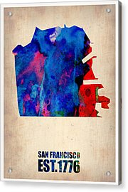 San Francisco Watercolor Map Acrylic Print by Naxart Studio
