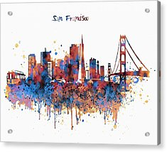 San Francisco Watercolor Skyline Acrylic Print by Marian Voicu