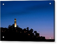 San Francisco's Coit Tower At Night Acrylic Print by SFPhotoStore