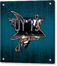 San Jose Sharks Hockey Team Retro Logo Vintage Recycled California License Plate Art Acrylic Print by Design Turnpike
