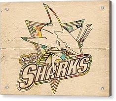 San Jose Sharks Vintage Poster Acrylic Print by Florian Rodarte
