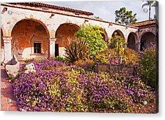 San Juan Capistrano Mission Flower Garden Acrylic Print