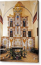 San Juan Mission Altar Acrylic Print by Andy Crawford