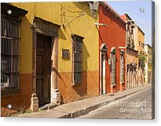 San Miguel Street Mexico Acrylic Print by John  Mitchell