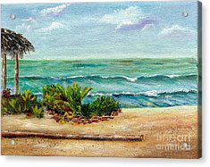 Acrylic Print featuring the painting San Onofre Beach by Mary Scott