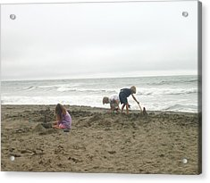 Acrylic Print featuring the pyrography Sand Castle by Hiroko Sakai