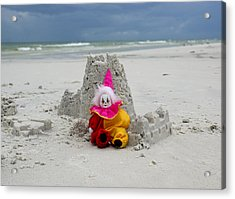 Sand Castle Jester Acrylic Print by William Patrick