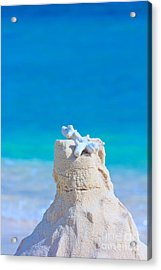 Sand Castle With Coral Against Calm Turquoise Sea Acrylic Print