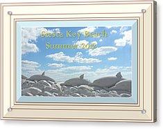 Sand Dolphins - Digitally Framed Acrylic Print