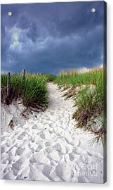 Sand Dune Under Storm Acrylic Print by Olivier Le Queinec
