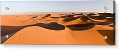 Sand Dunes In A Desert, Erg Chigaga Acrylic Print by Panoramic Images