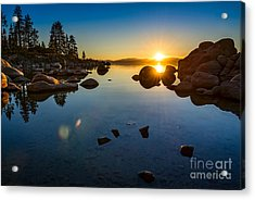 Sand Harbor Sunset Acrylic Print by Jamie Pham