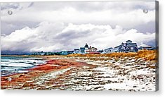 Acrylic Print featuring the photograph Sand Snow And Seaweed Photo Art by Constantine Gregory
