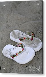 Sandals In The Sand Acrylic Print by Laura Paine