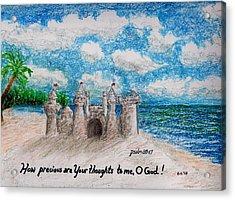 Sandcastle Acrylic Print by Catherine Saldana