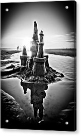 Sandcastle In Black And White Acrylic Print