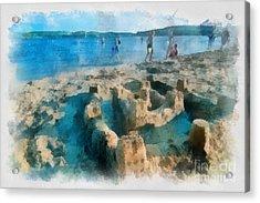 Sandcastle On The Beach Acrylic Print by Amy Cicconi