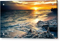 Acrylic Print featuring the photograph Sandcastle Sunset Beach-destin Florida Orange Sea Shore Art by Eszra
