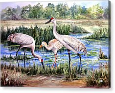 Acrylic Print featuring the painting Sandhills By The Pond by Roxanne Tobaison