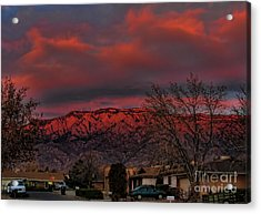 Sandia Moutains At Sunset Acrylic Print