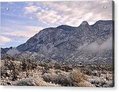 Acrylic Print featuring the photograph Sandia Snow by Gina Savage